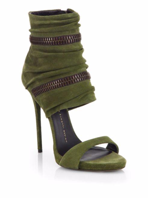 Giuseppe Zanotti Suede Wraparound Zipper Sandals
